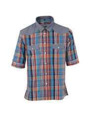 Three Forths Sleeves Plaid Chambrey Shirt