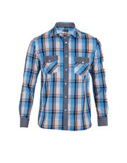 Long Sleeves Plaid/Chambray Combination