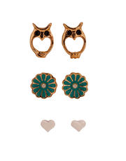 3pc Stud Earrings with Owl Flowers and Hearts