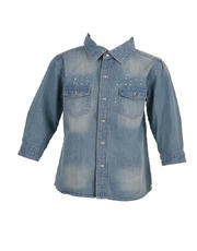 3/4 Sleeves Polo Denim with Stones