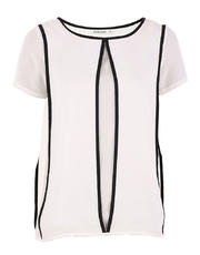 Sleeveless Illusion Top with Piping