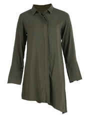 Long-sleeved Asymmetrical Button Down Dress with Cuff Detail