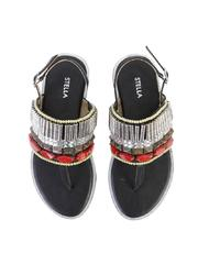 T-Strap Sandals With Gems